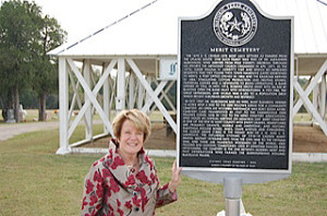 Carol Taylor, author, lecturer, genealogist, local historian, following the dedication of a Texas Historical Marker at the Merit Cemetery in rural Hunt County.