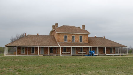 Fort Richardson (1867-1878) is located on the south bank of Lost Creek in Jacksboro, Texas.  It was the northernmost frontier fort in Texas after the Civil War.  The post hospital (shown), officer's quarters, powder magazine, morgue, commissary, guard house and bakery that once produced 600 loaves of fresh bread each day are all on the grounds.  Today a Texas State Park, the grounds also include nature trails and park ranger talks.