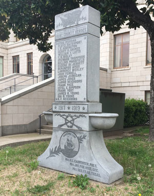The ladies of the Mayflower Club presented this monument to Hunt County officials in 1919.  On either side are the names of those who lost their lives during World War I.  All forty-one men were residents of Hunt County when they enlisted.